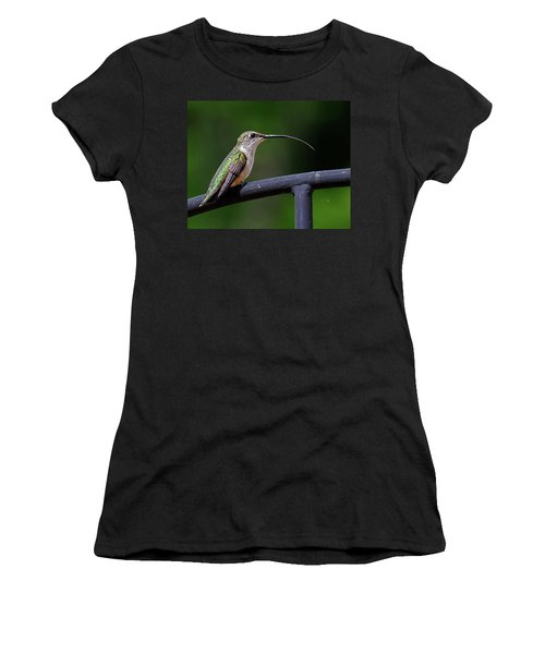 Ruby-throated Hummingbird Tongue Women's T-Shirt (Athletic Fit)