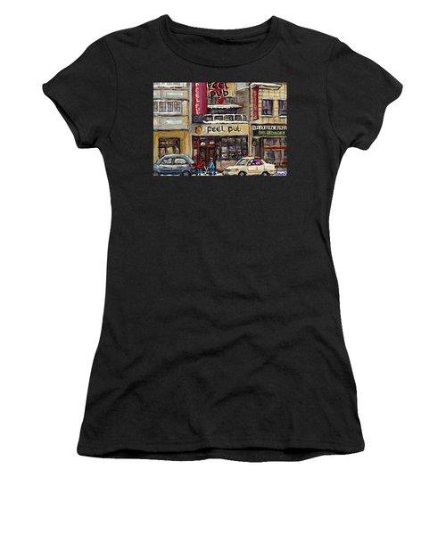Rue Peel Montreal Winter Street Scene Paintings Peel Pub Cafe Republique Hockey Scenes Canadian Art Women's T-Shirt