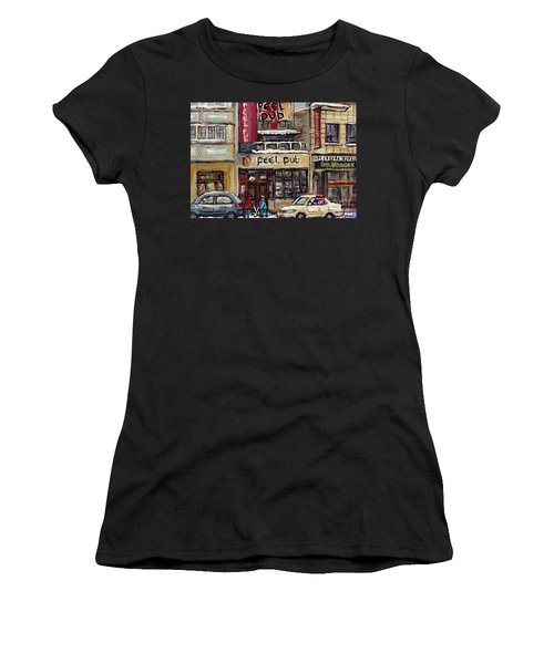 Rue Peel Montreal Winter Street Scene Paintings Peel Pub Cafe Republique Hockey Scenes Canadian Art Women's T-Shirt
