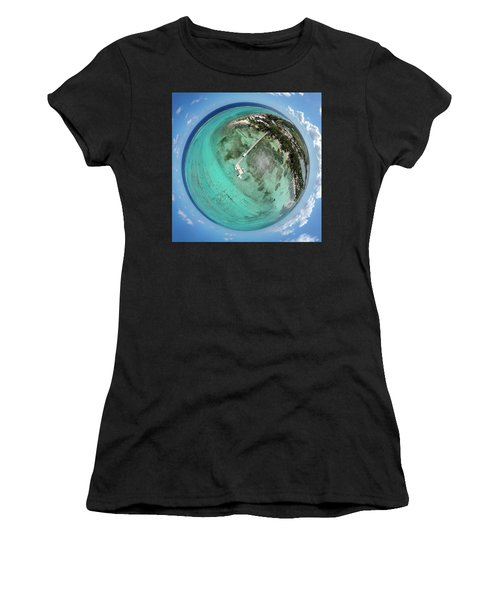 Women's T-Shirt (Athletic Fit) featuring the photograph Rum Point Little Planet by Adam Romanowicz