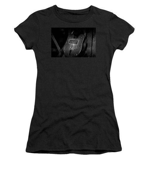 Women's T-Shirt featuring the photograph Rusty Lock In Bw by Doug Camara