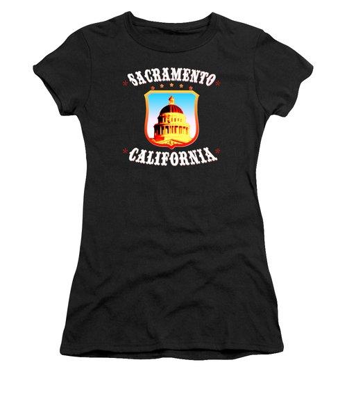 Sacramento California - Tshirt Design Women's T-Shirt (Junior Cut) by Art America Gallery Peter Potter