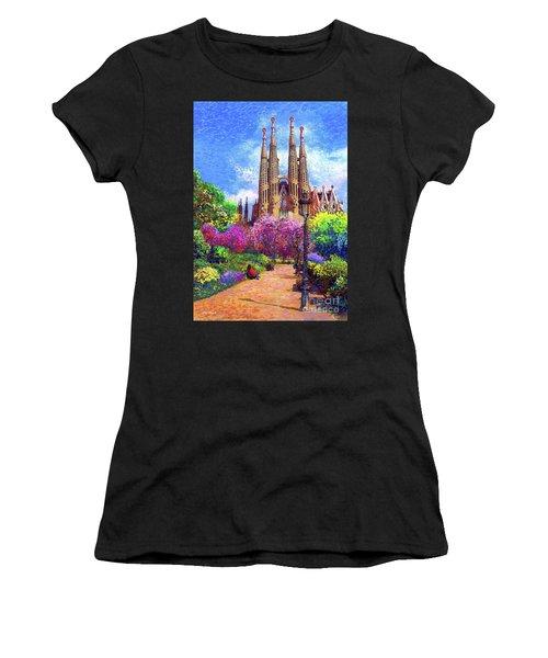 Sagrada Familia And Park Barcelona Women's T-Shirt (Athletic Fit)