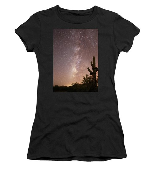 Saguaro Cactus And Milky Way Women's T-Shirt (Athletic Fit)