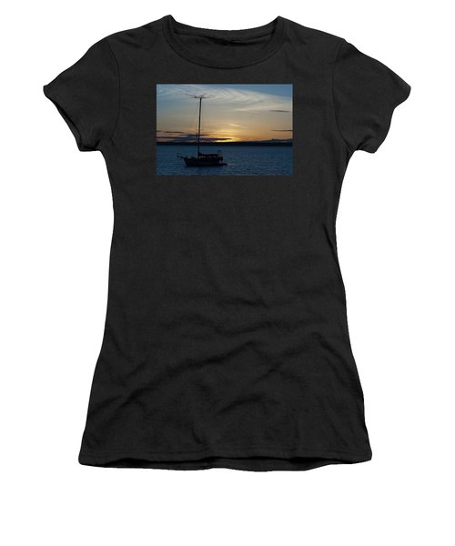 Sail Boat At Sunset Women's T-Shirt (Athletic Fit)