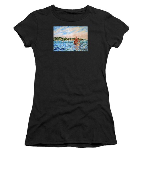 Sailboat On The Bay Women's T-Shirt (Athletic Fit)