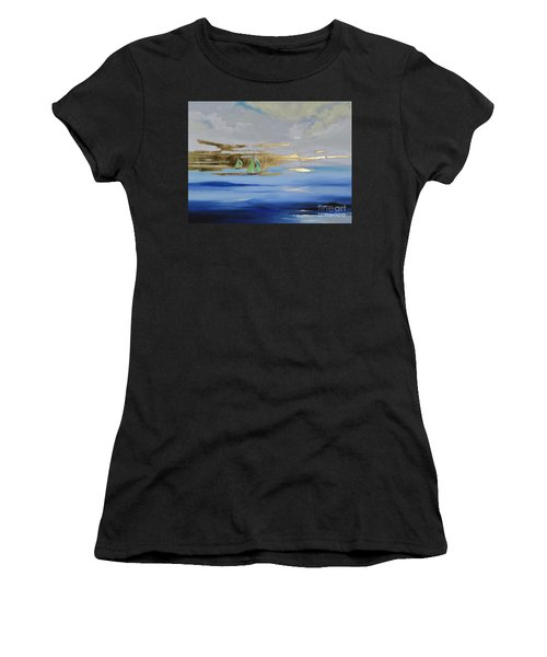 Women's T-Shirt featuring the painting Sailing Away by Mary Scott