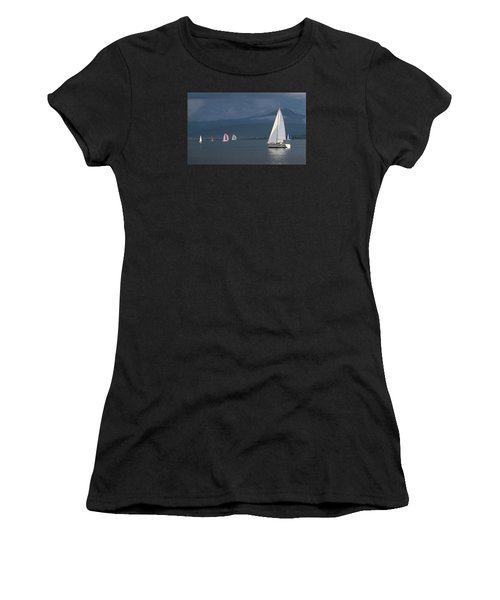 Sailing Boats By Stormy Weather, Geneva Lake, Switzerland Women's T-Shirt (Athletic Fit)