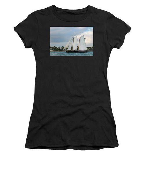 Women's T-Shirt (Athletic Fit) featuring the photograph Sailing In Key West At Dusk by Bob Slitzan