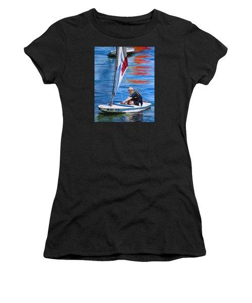 Sailing On Lake Thunderbird Women's T-Shirt (Athletic Fit)