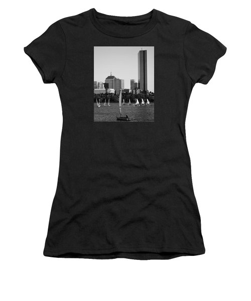 Sailing The Charles River Boston Ma Black And White Women's T-Shirt
