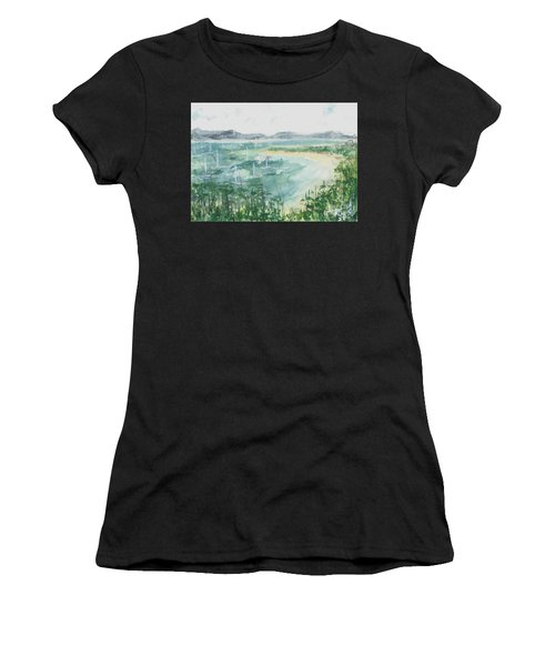 Women's T-Shirt featuring the painting Sailing The South Of France by Reed Novotny