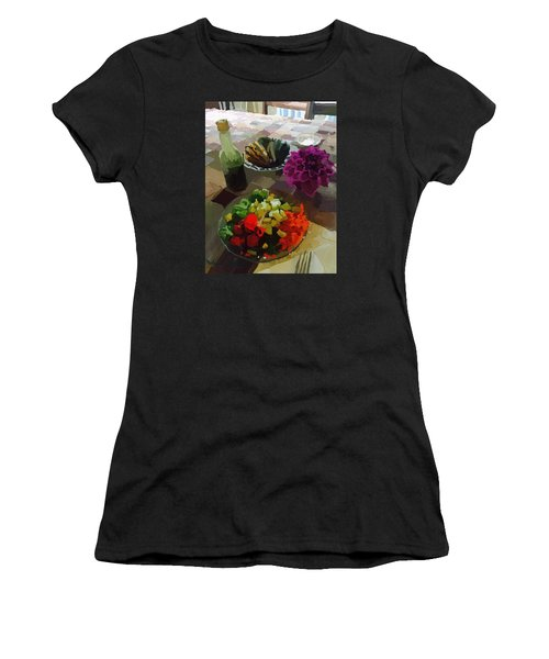Salad And Dressing With Squash And Dahlia Women's T-Shirt (Junior Cut) by Melissa Abbott