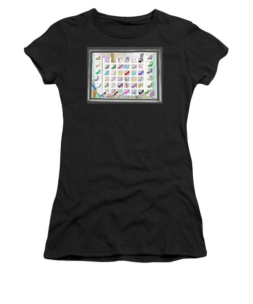 Women's T-Shirt featuring the painting Salina's Shoe Closet by Melinda Ledsome