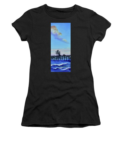 Women's T-Shirt featuring the painting San Clemente High Surf by Mary Scott