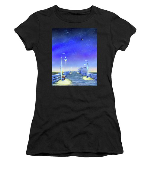 Women's T-Shirt featuring the painting San Clemente Pier by Mary Scott