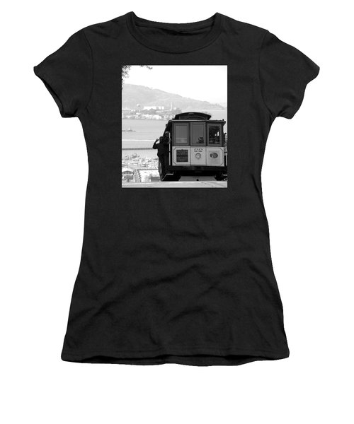 San Francisco Cable Car With Alcatraz Women's T-Shirt (Athletic Fit)