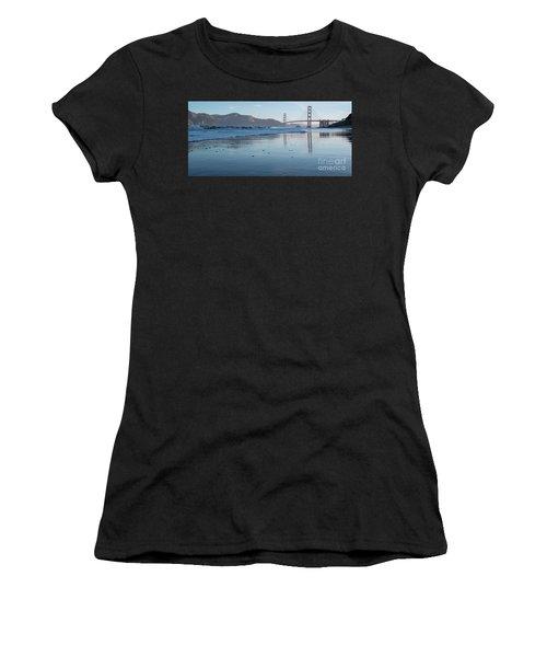 San Francisco Golden Gate Bridge Reflected On Baker's Beach Wet  Women's T-Shirt