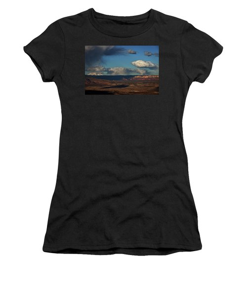 San Francisco Peaks With Snow And Clouds Women's T-Shirt (Junior Cut) by Ron Chilston