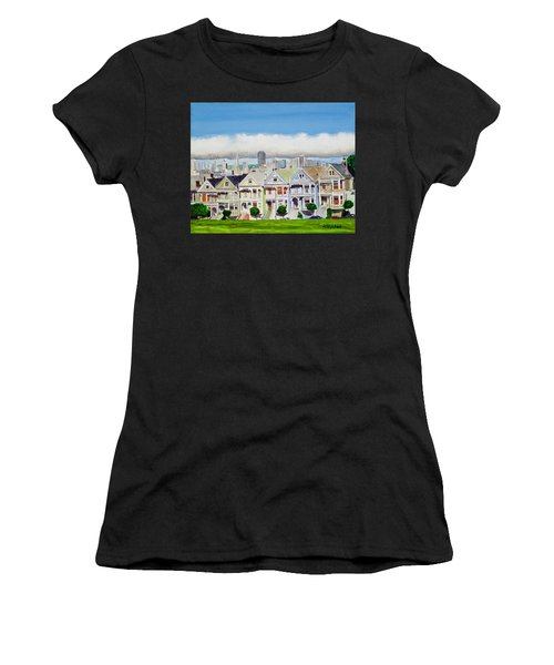 San Francisco's Painted Ladies Women's T-Shirt (Athletic Fit)