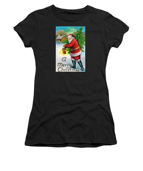 Santa Carrying A Christmas Tree Women's T-Shirt