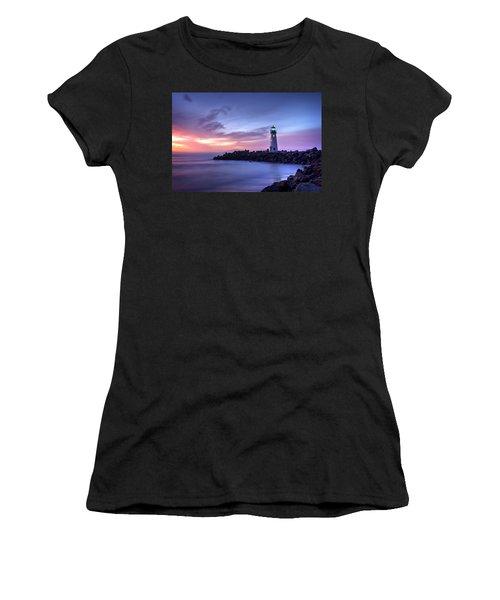 Santa Cruz Harbor Mouth Sunrise Women's T-Shirt (Athletic Fit)