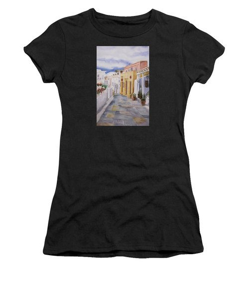 Santorini Cloudy Day Women's T-Shirt (Athletic Fit)