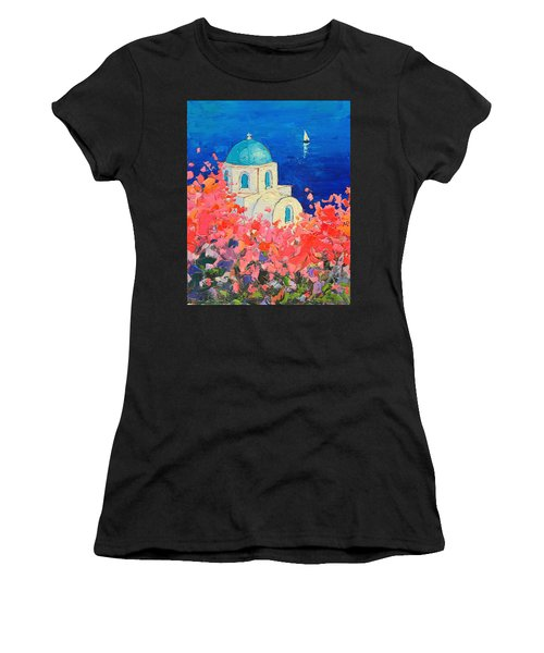 Santorini Impression - Full Bloom In Santorini Greece Women's T-Shirt (Athletic Fit)