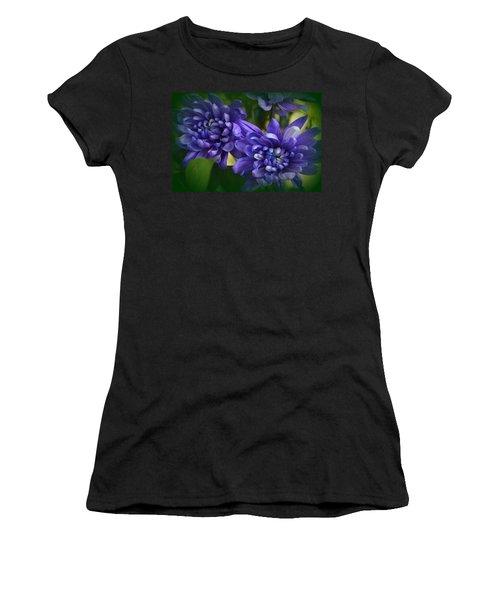 Sapphire Blue Chrysanthemums Women's T-Shirt (Athletic Fit)
