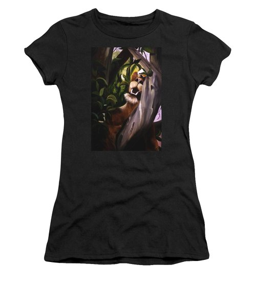 Women's T-Shirt (Junior Cut) featuring the painting Satisfied by Renate Nadi Wesley