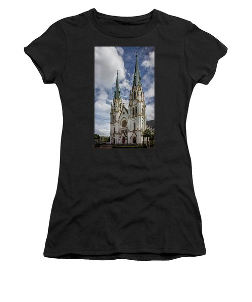 Women's T-Shirt featuring the photograph Savannah Historic Cathedral by James Woody