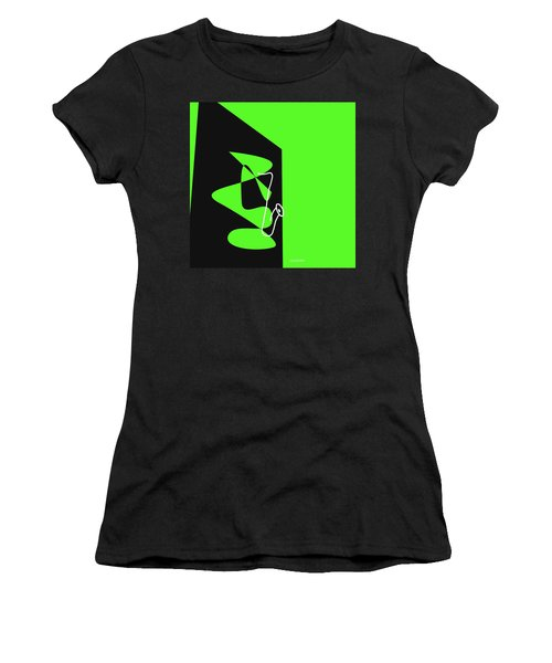 Women's T-Shirt (Junior Cut) featuring the digital art Saxophone In Green by Jazz DaBri