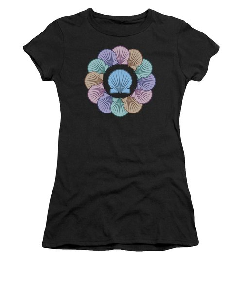 Women's T-Shirt featuring the digital art Scallop Shells Circle Multi Color by MM Anderson