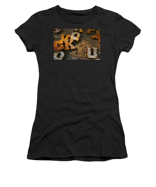 Women's T-Shirt (Junior Cut) featuring the photograph Scamble Letters by Randy Pollard