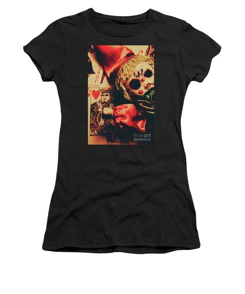 Scary Doll Dressed As Joker On Playing Card Women's T-Shirt