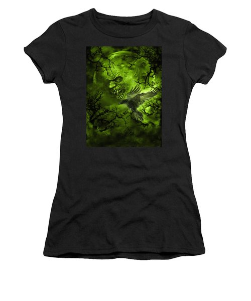 Scary Moon Women's T-Shirt (Athletic Fit)