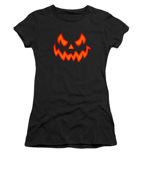 Scary Pumpkin Face Women's T-Shirt (Athletic Fit)