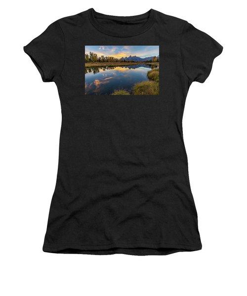 Women's T-Shirt featuring the photograph Schwabacher Sunset 1 by D Robert Franz
