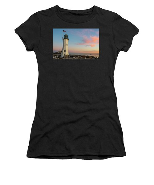 Scituate Lighthouse Scituate Massachusetts South Shore At Sunrise Women's T-Shirt (Athletic Fit)