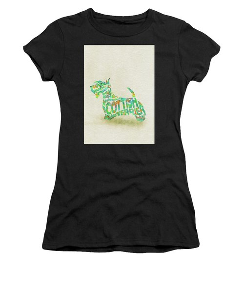 Scottish Terrier Dog Watercolor Painting / Typographic Art Women's T-Shirt (Athletic Fit)