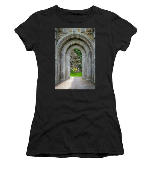Women's T-Shirt (Athletic Fit) featuring the photograph Sculpted Portal To Irish Spring Garden by James Truett
