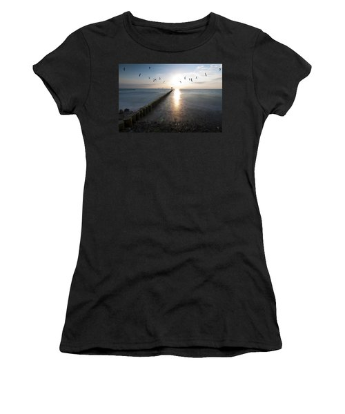 Sea Birds Sunset. Women's T-Shirt (Athletic Fit)