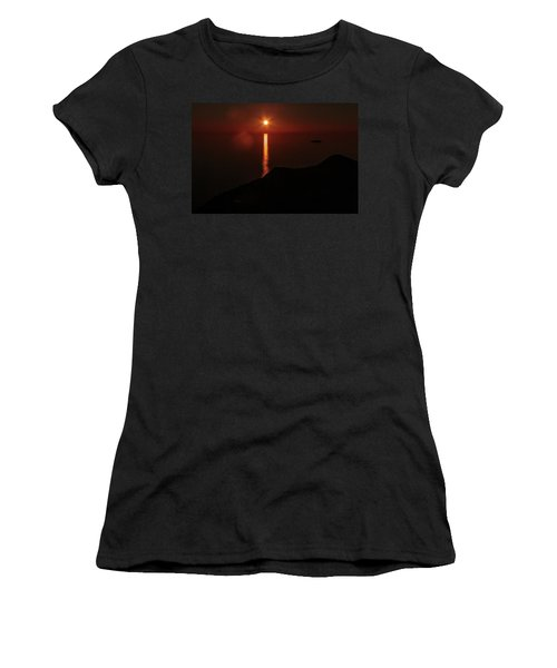 Sea, Mountains, Sunset, Sun Sinking Over The Horizon Women's T-Shirt (Athletic Fit)