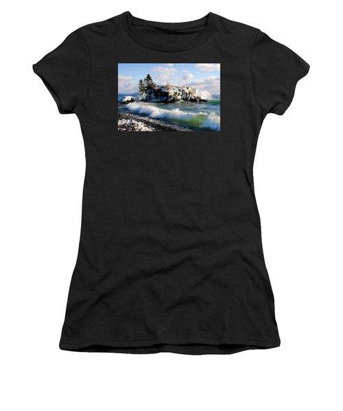 Sea Smoke At Hollow Rock Women's T-Shirt (Junior Cut) by Sandra Updyke