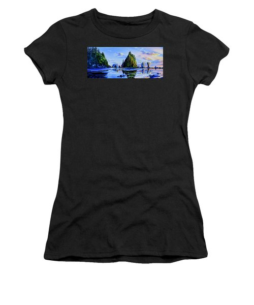Women's T-Shirt (Athletic Fit) featuring the painting Sea Stack Serenity by Hanne Lore Koehler