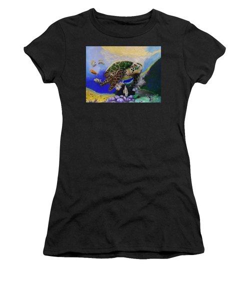 Sea Turtle Acrylic Painting Women's T-Shirt