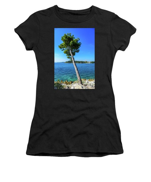 Seaside Leaning Tree In Rovinj, Croatia Women's T-Shirt (Athletic Fit)
