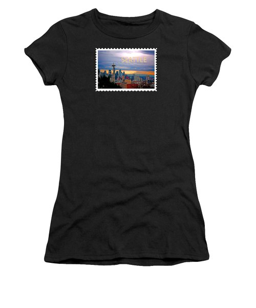 Seattle At Sunset Text Seattle Women's T-Shirt