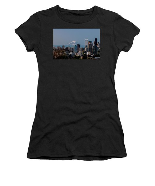 Women's T-Shirt (Junior Cut) featuring the photograph Seattle-mt. Rainier In The Morning Light .1 by E Faithe Lester