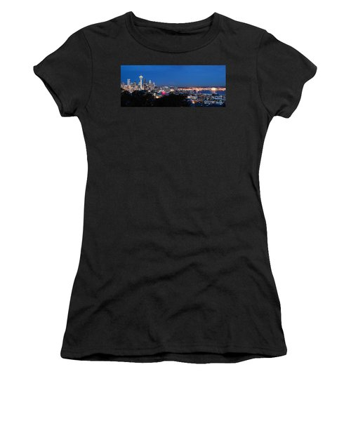 Women's T-Shirt featuring the photograph Seattle Panorama At Twilight by Peter Simmons